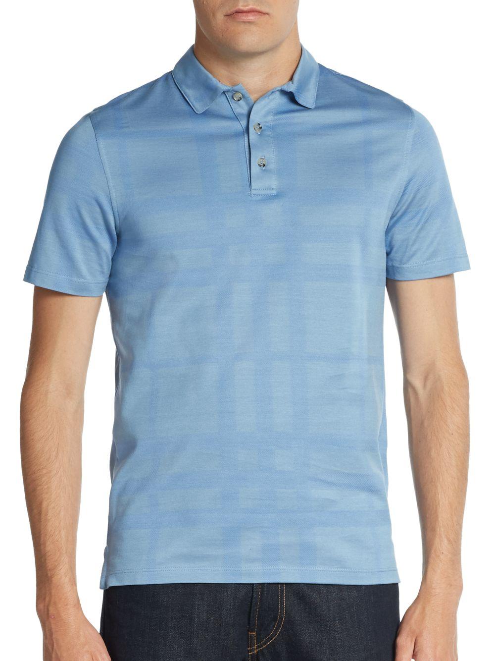 1e037344b Burberry Auden Check Cotton Polo Shirt in Blue for Men - Lyst