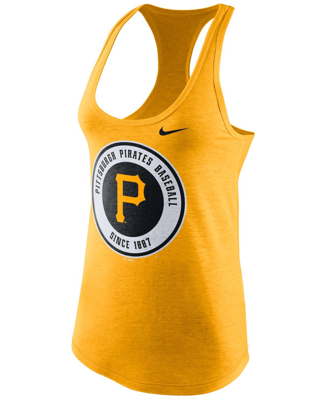 bec24258bdf Nike Women'S Pittsburgh Pirates Tri-Blend Tank Top in Yellow - Lyst