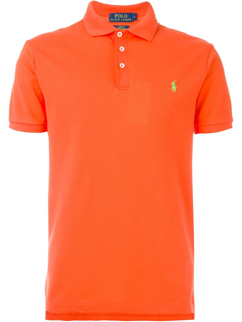 Polo ralph lauren classic polo shirt in orange for men lyst for Orange polo shirt mens