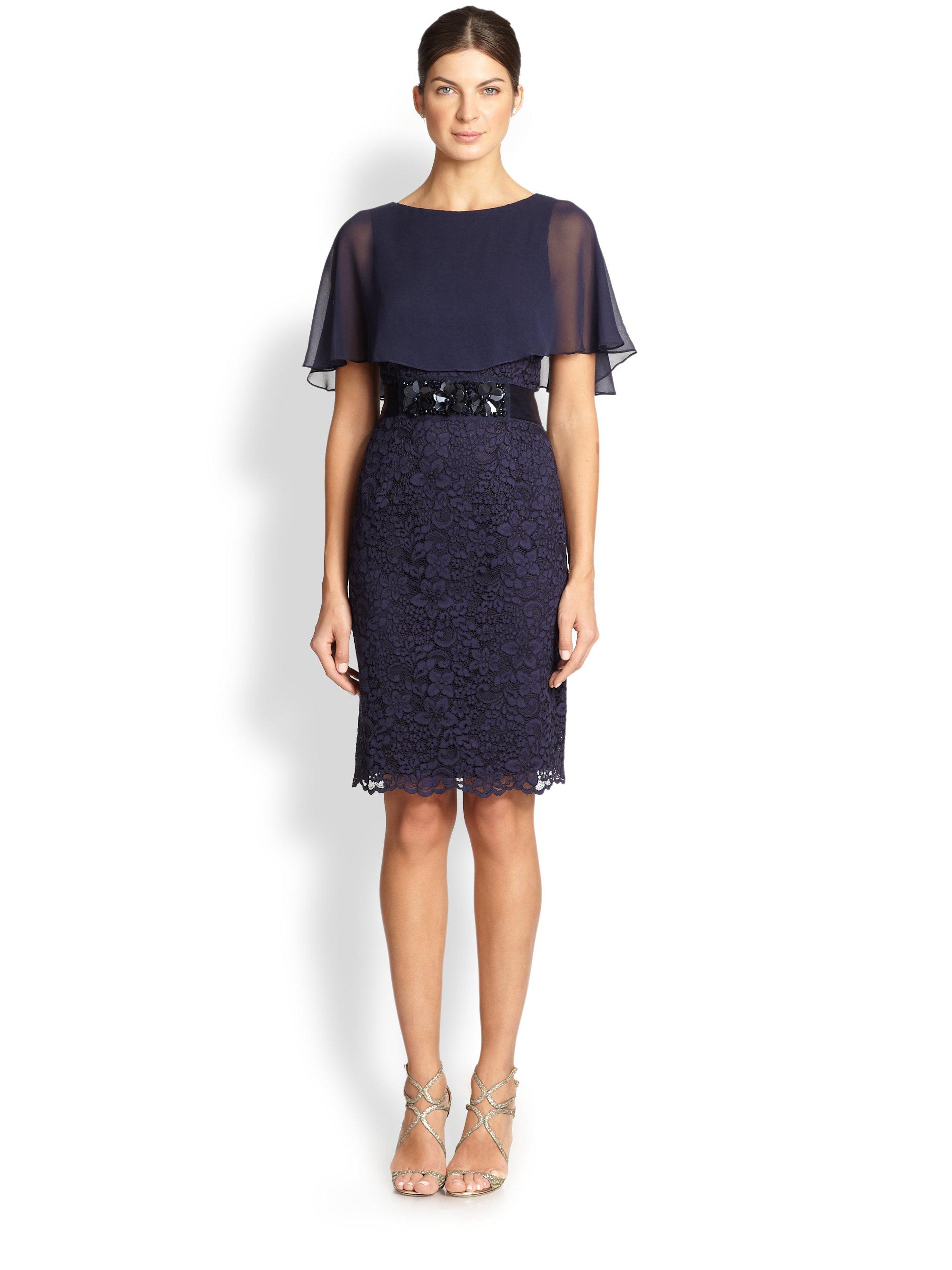 Lyst Teri Jon Cape Lace Dress In Blue