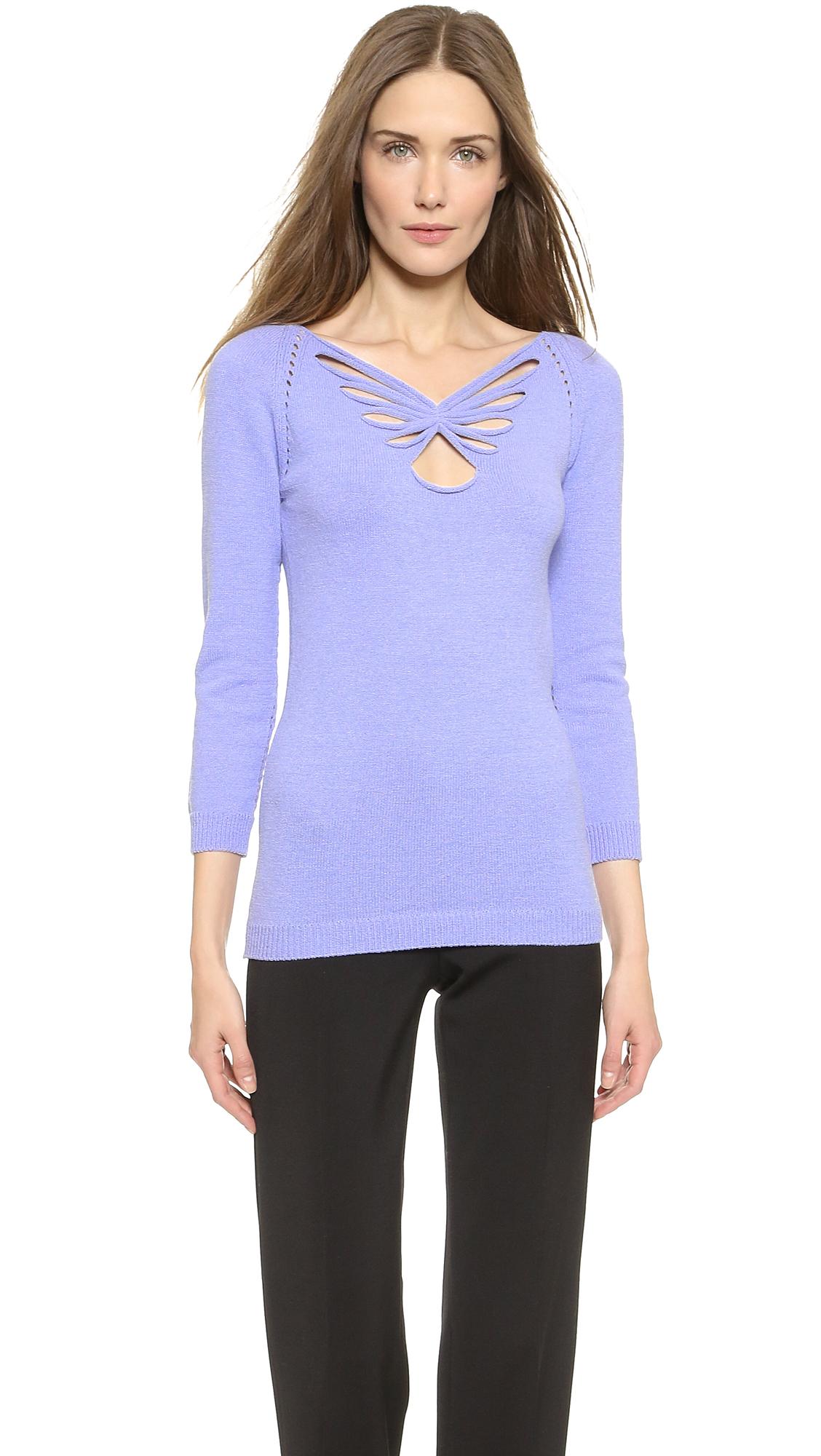 Nina ricci Long Sleeve Sweater in Purple | Lyst