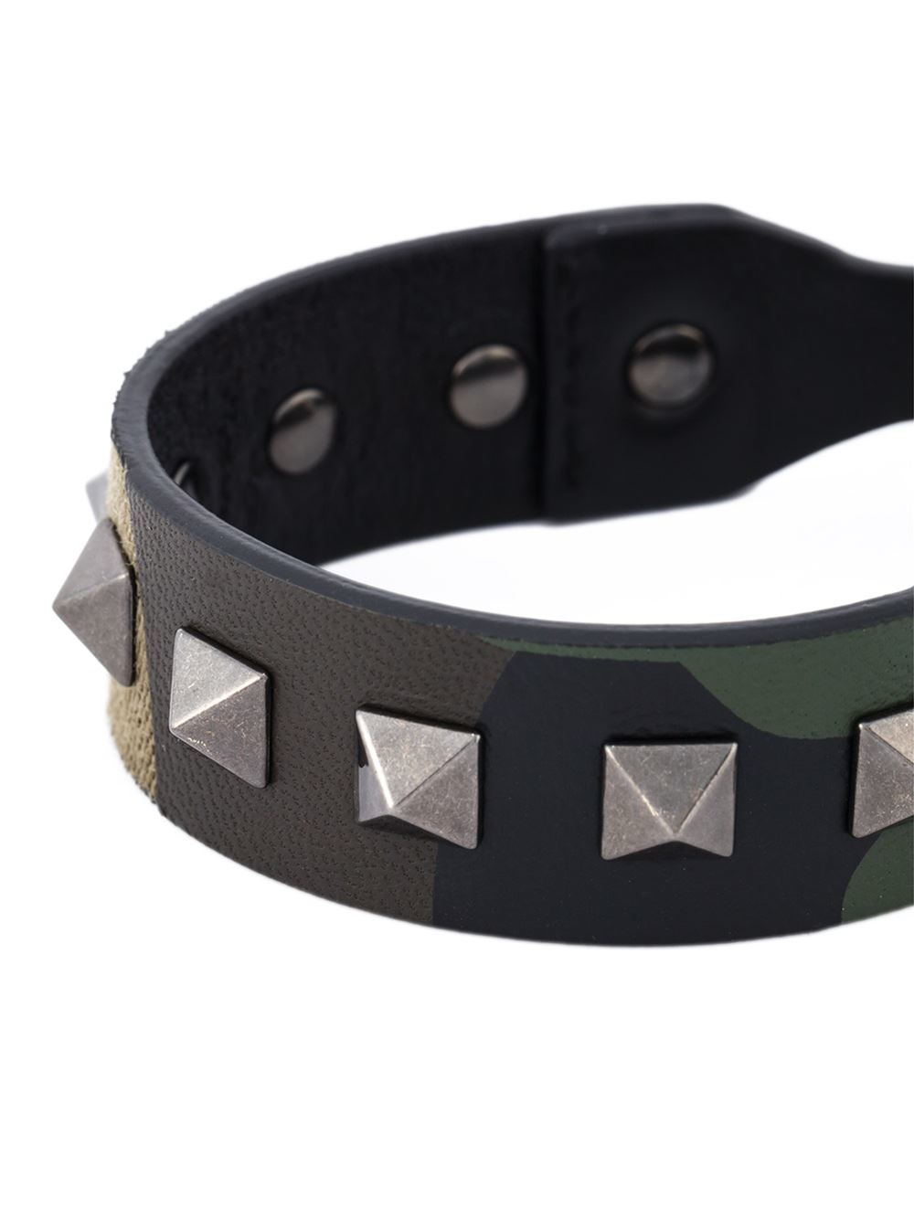Valentino Rockstud camouflage leather and canvas bracelet Nc1Hd1