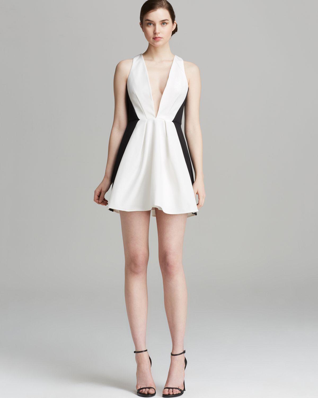 Keepsake Dress Modern Art Mini In White (Ivory/Black)