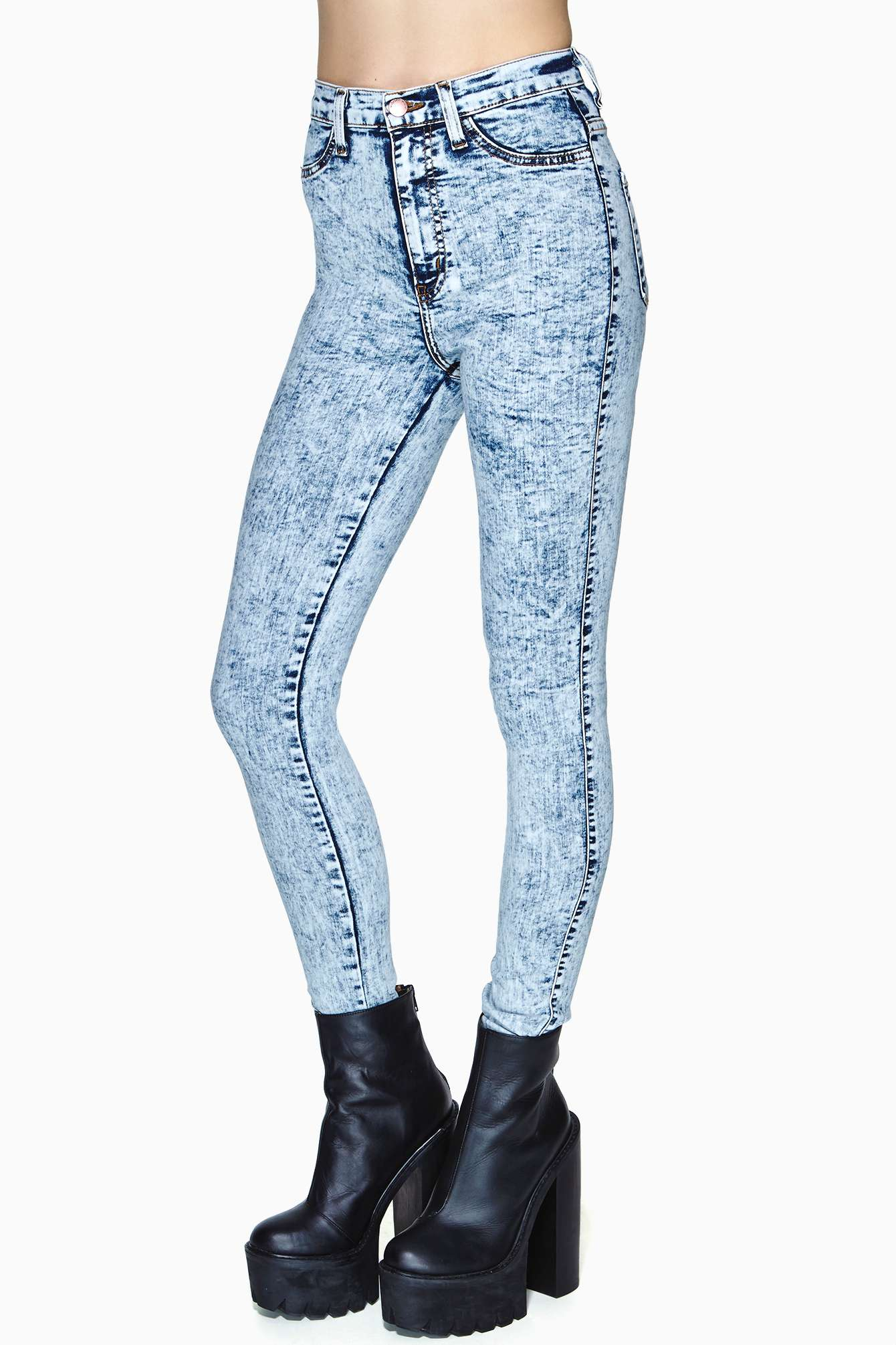 Blue And White Skinny Jeans - Jon Jean