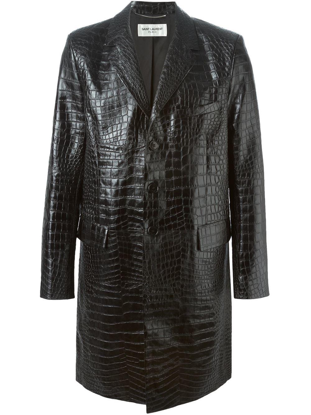 Saint Laurent Crocodile Embossed Coat In Black For Men Lyst