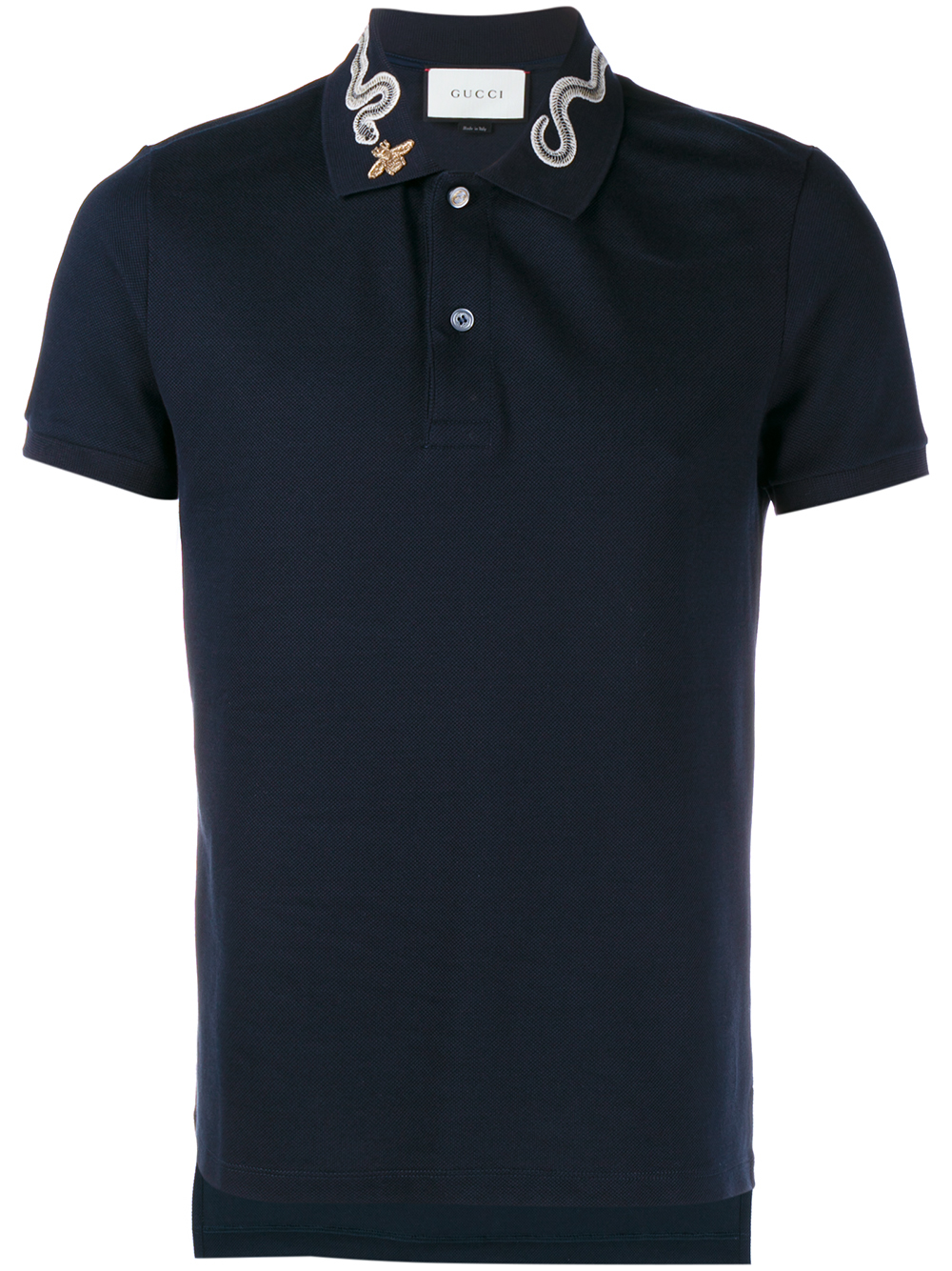 8626db01 Gucci Snake And Bee Collar Polo Shirt in Blue for Men - Lyst