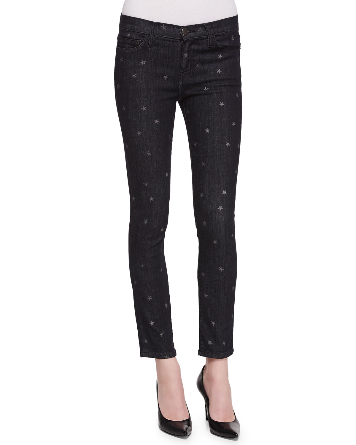 Current/elliott Star-Print Stiletto Skinny Jeans in Black | Lyst