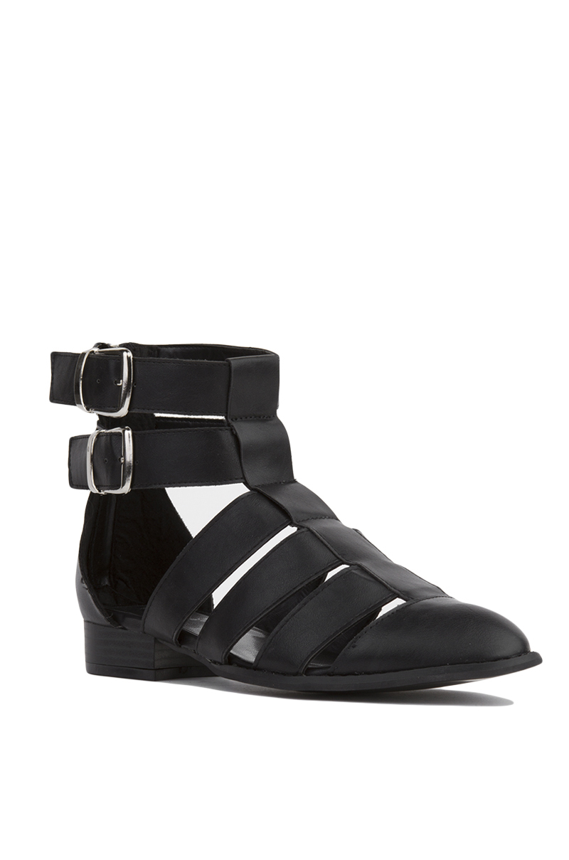 Akira Strappy Gladiator Black Ankle Booties In Black Lyst