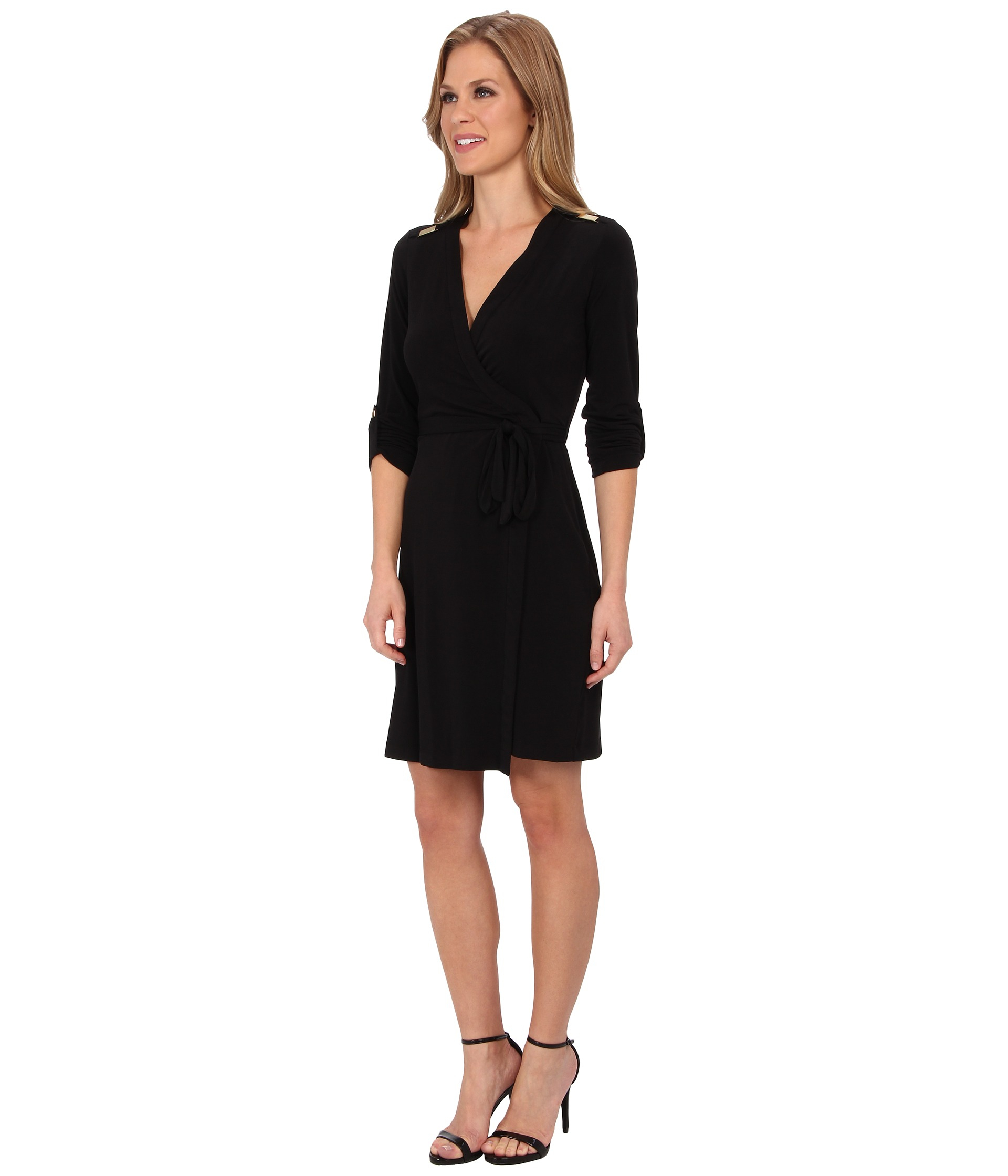 Calvin Klein Synthetic Petite Belted Sheath Dress In Black