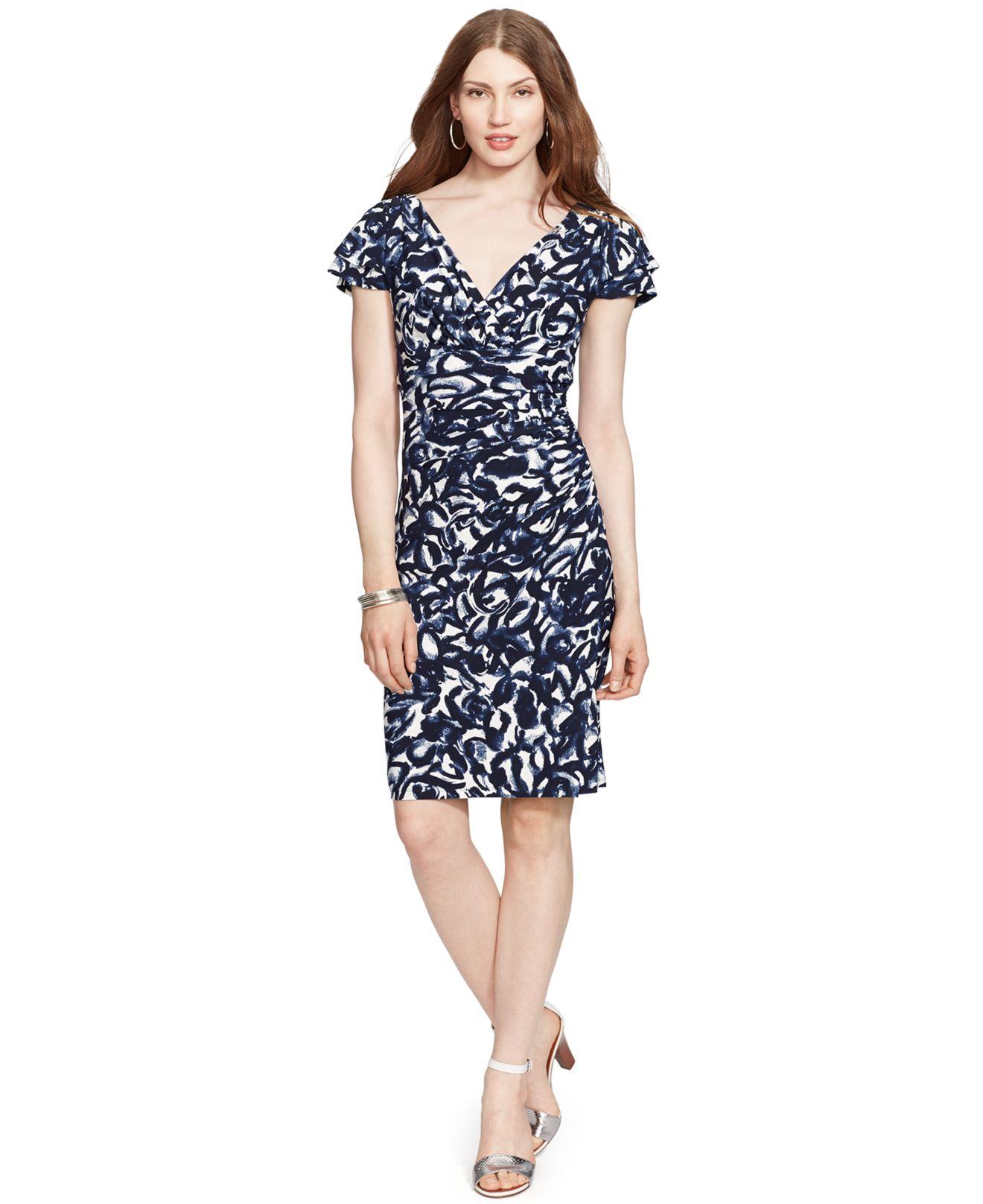Lauren By Ralph Lauren Petite Flutter Sleeve Ruched Dress