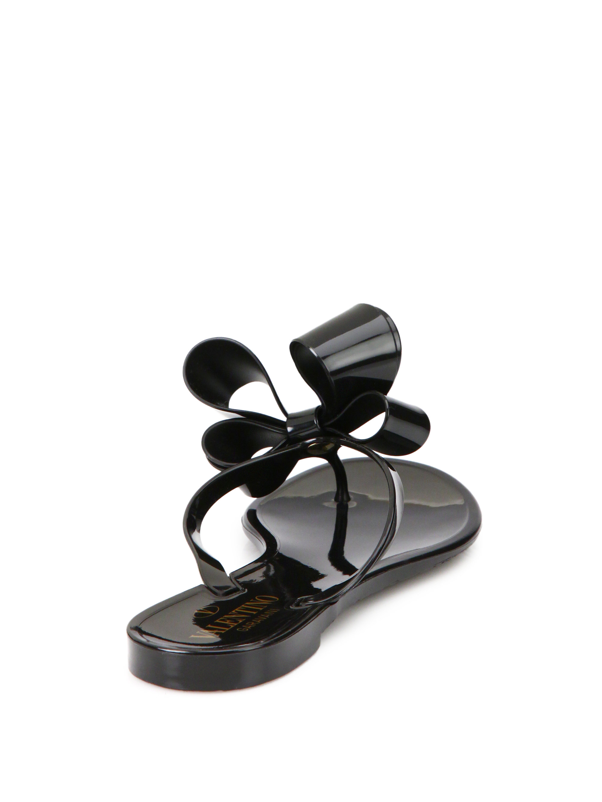Valentino Rubber Couture Bow Jelly Flip Flops In Black - Lyst-6250