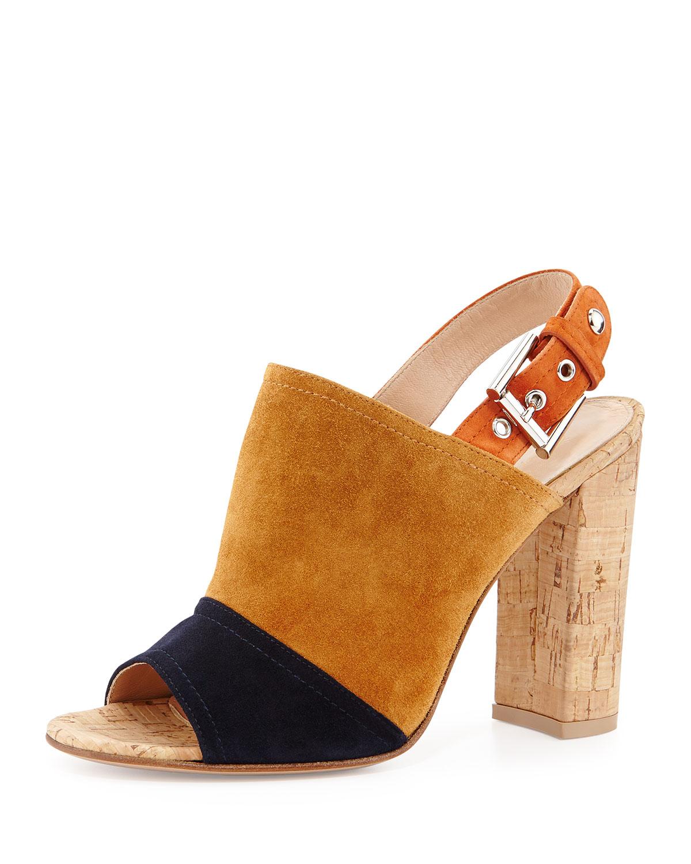 6e999603b66 Lyst - Gianvito Rossi Colorblock Suede   Cork Slingback Sandal in Brown