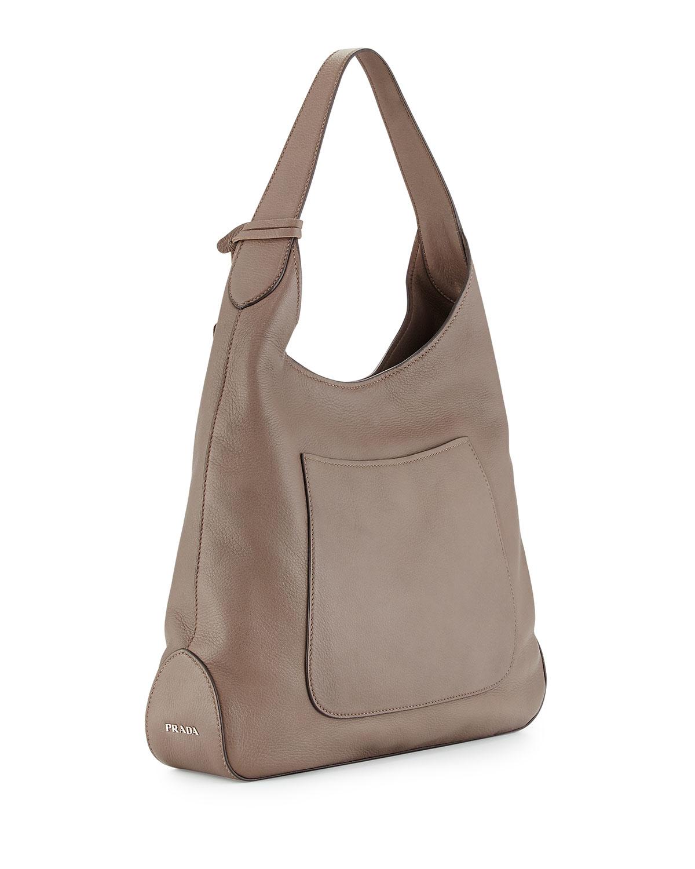 5013e7517dda Lyst - Prada Cervo Pocket Hobo Bag in Gray
