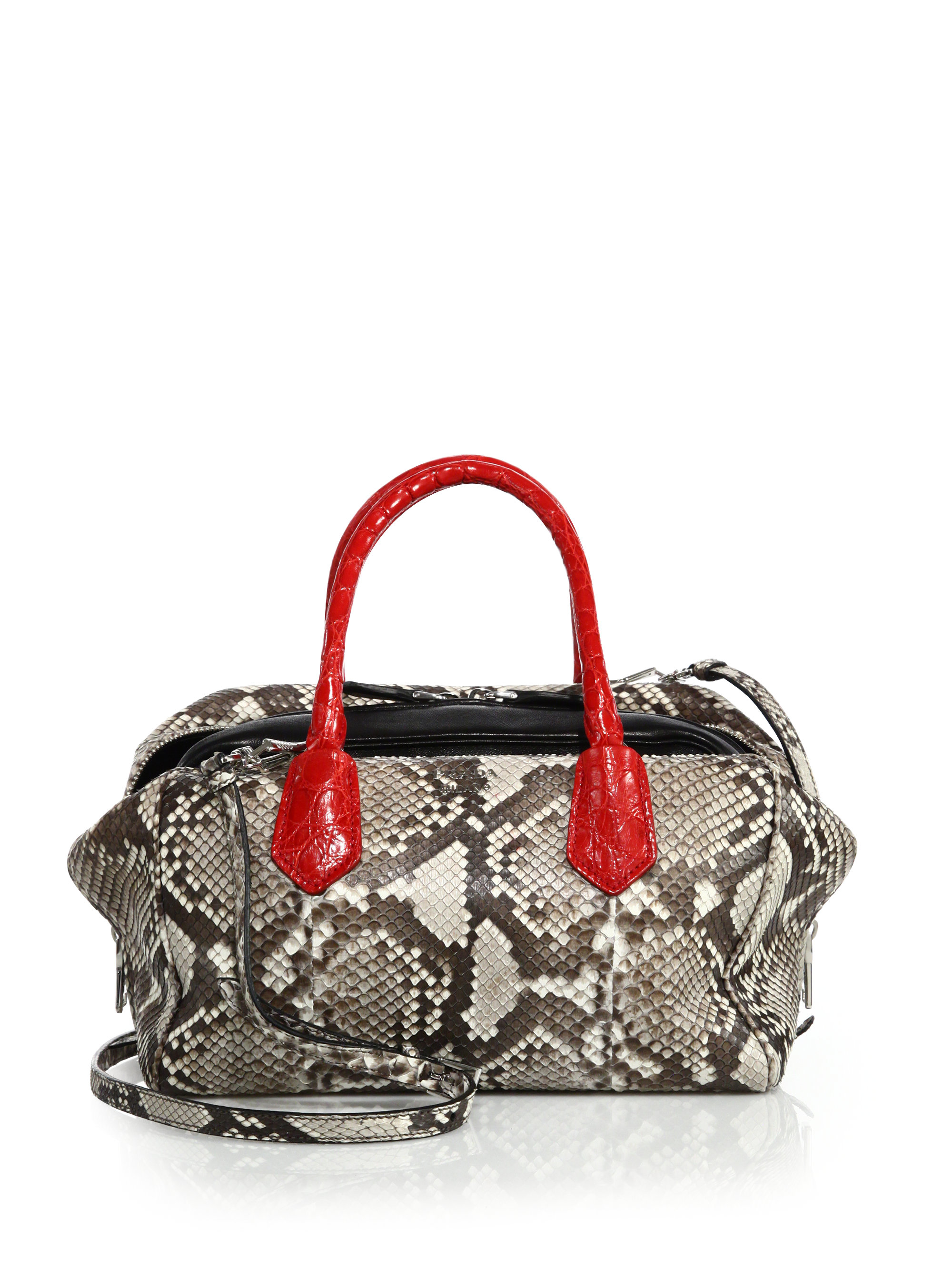 prada bag collections - Prada Python \u0026amp; Crocodile Inside Bag in Red (natural-red) | Lyst