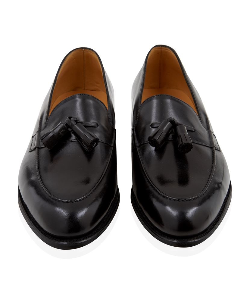 lobb truro tassel slip on shoe in black for lyst