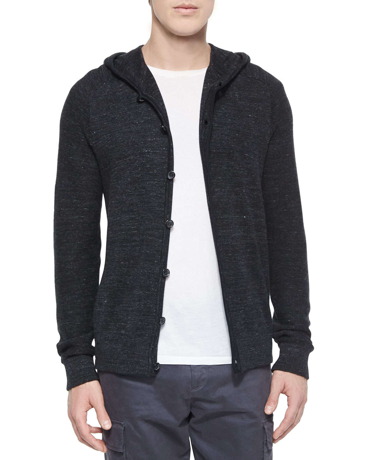 Vince Long-sleeve Hooded Cardigan in Black for Men | Lyst