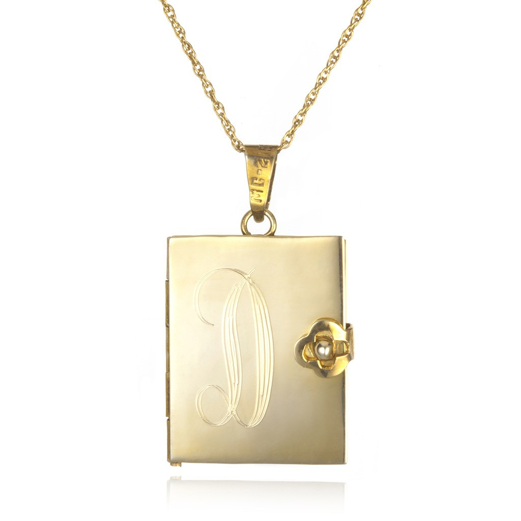 soixante neuf engraved locket book necklace gold in
