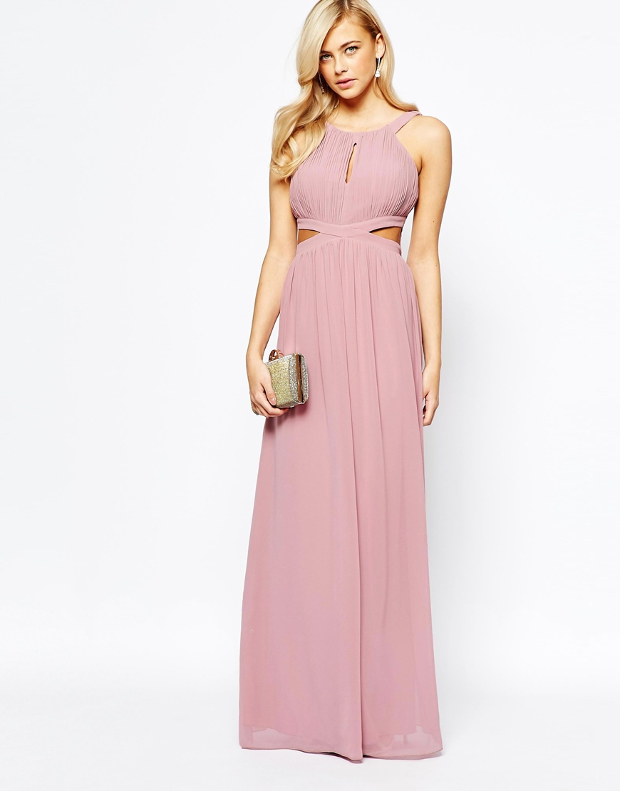 44be991599fe Little Mistress Chiffon Maxi Dress With Cut Outs in Pink - Lyst