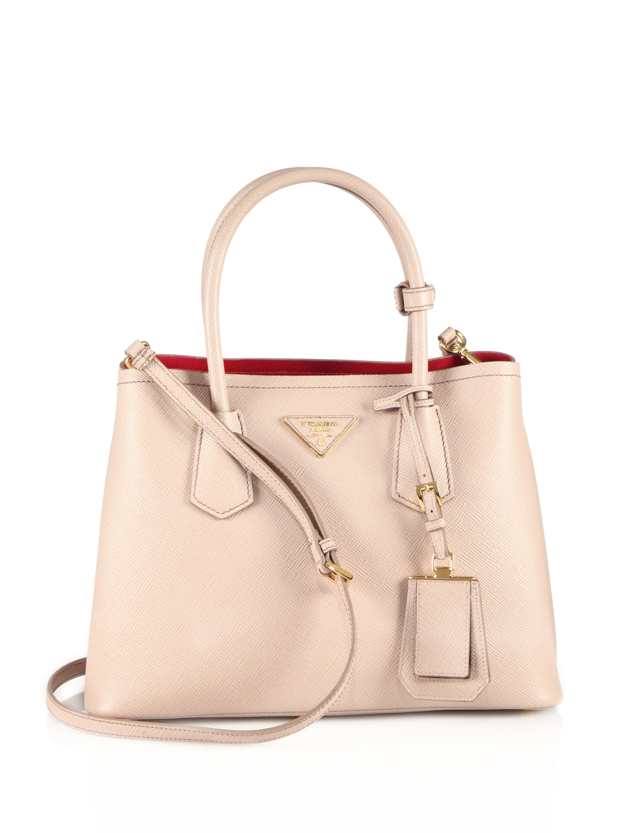 Prada Saffiano Cuir Small Double Bag in Beige (cammeo) | Lyst