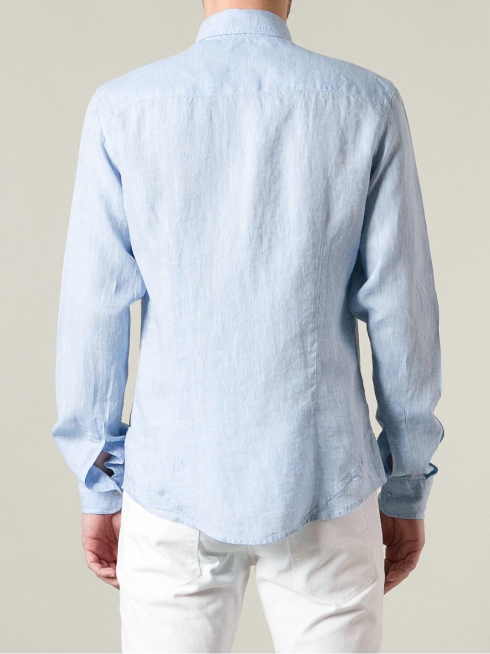 Lyst armani jeans press stud fastening shirt in blue for men for Dress shirt studs uk