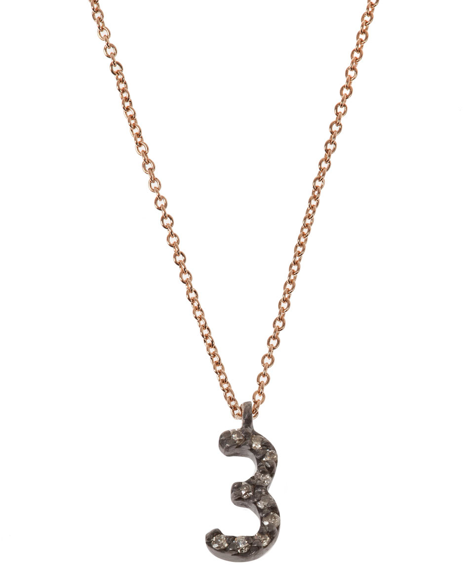 Kismet by Milka Rose Gold And Diamond Number 3 Necklace in Pink