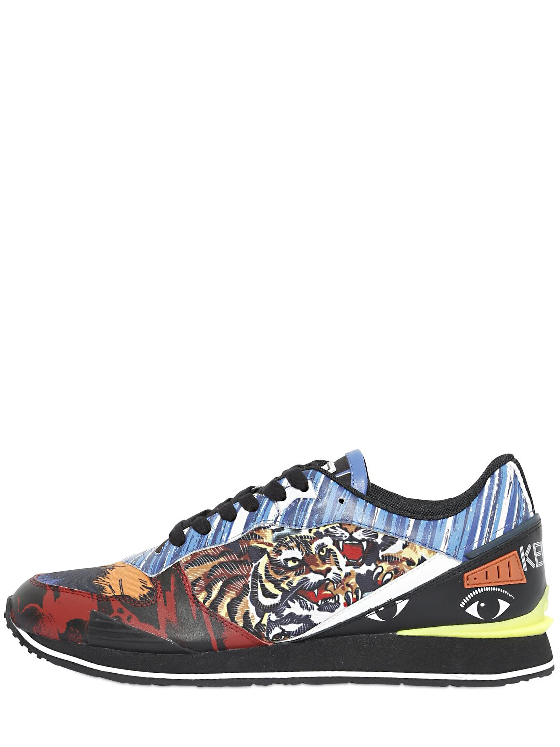 KENZO Logo Canvas & Leather Running Sneakers