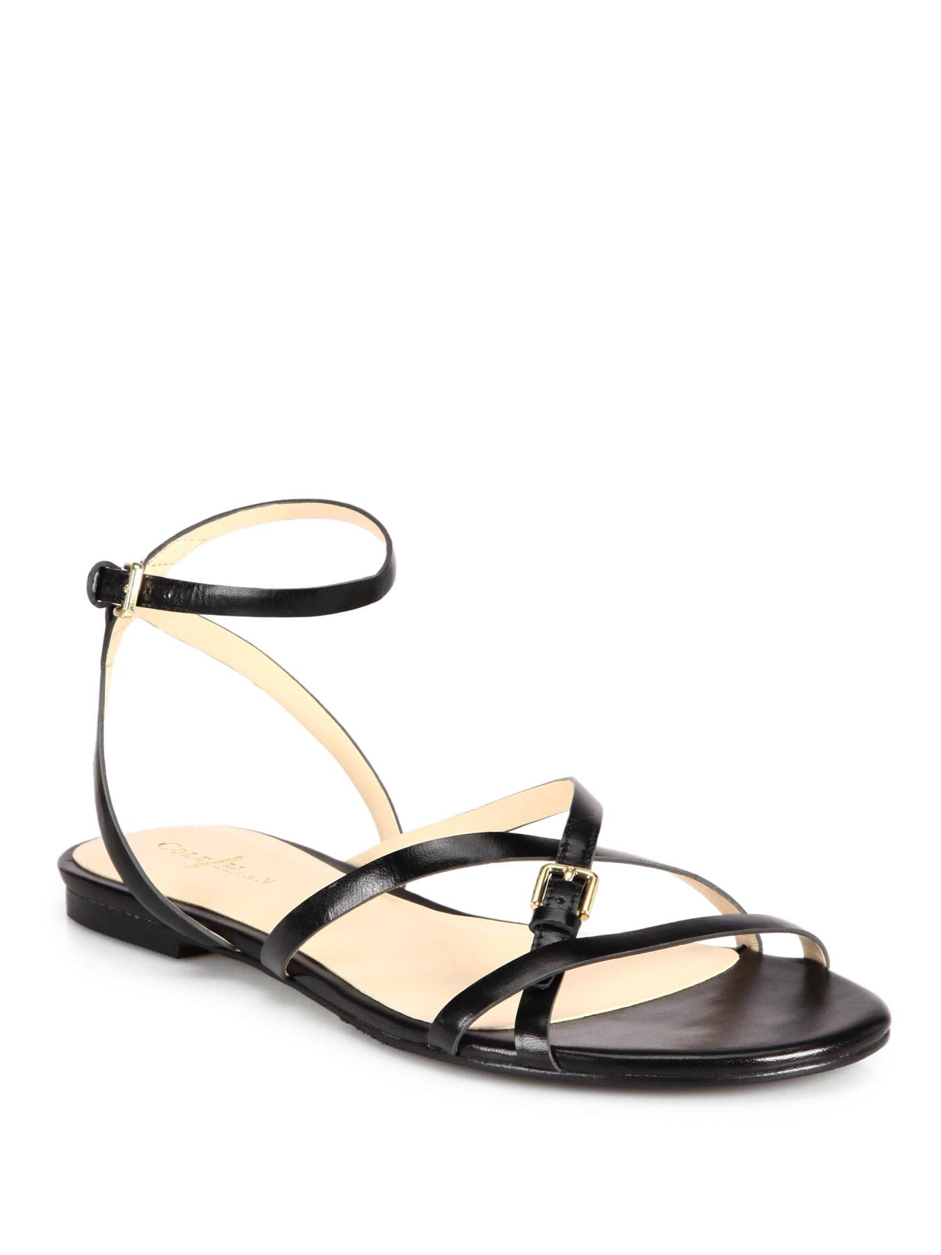 6d70bcc40ee Lyst - Cole Haan Jensen Strappy Leather Sandals in Black