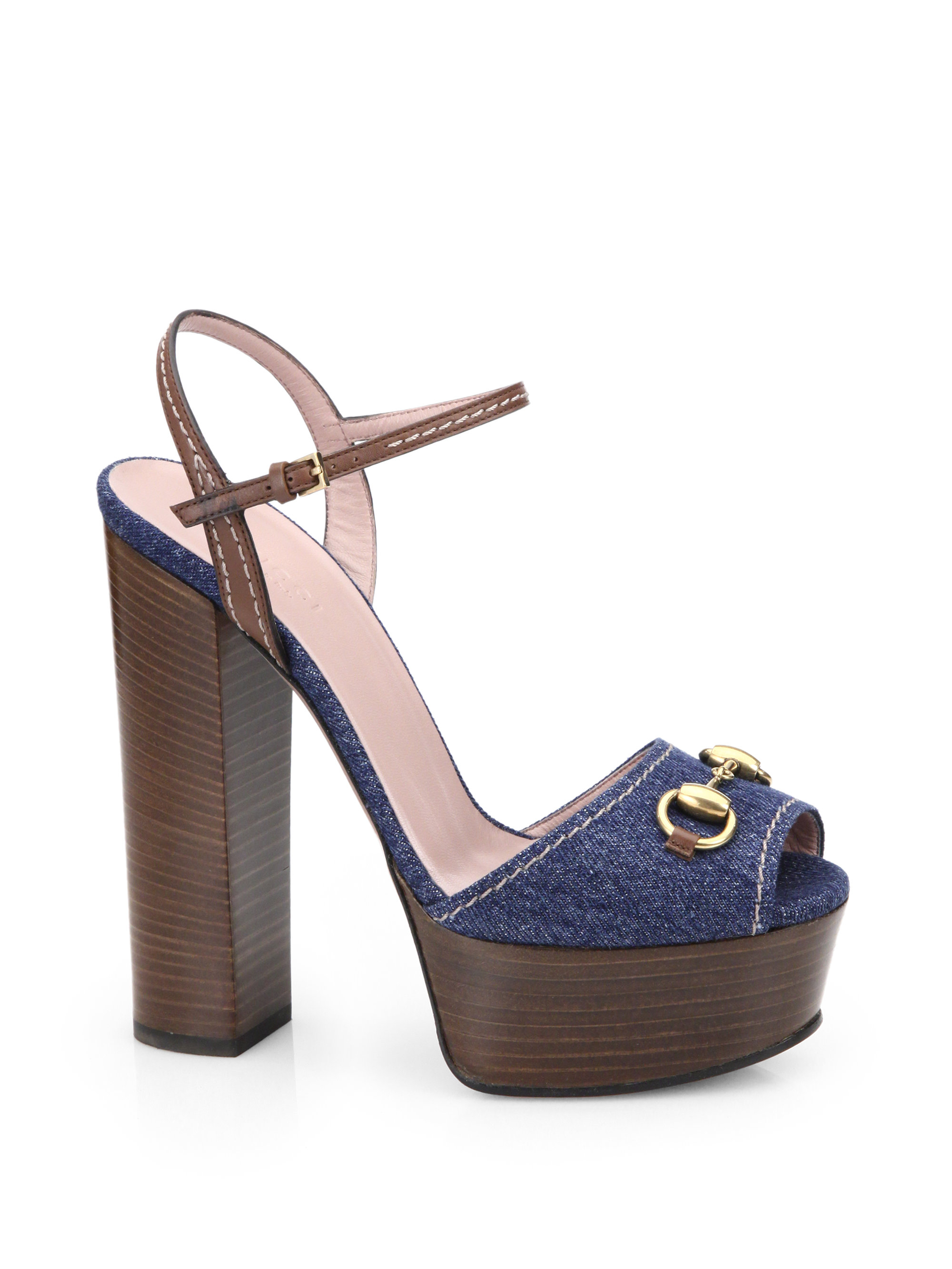 gucci claudie denim platform sandals in blue lyst
