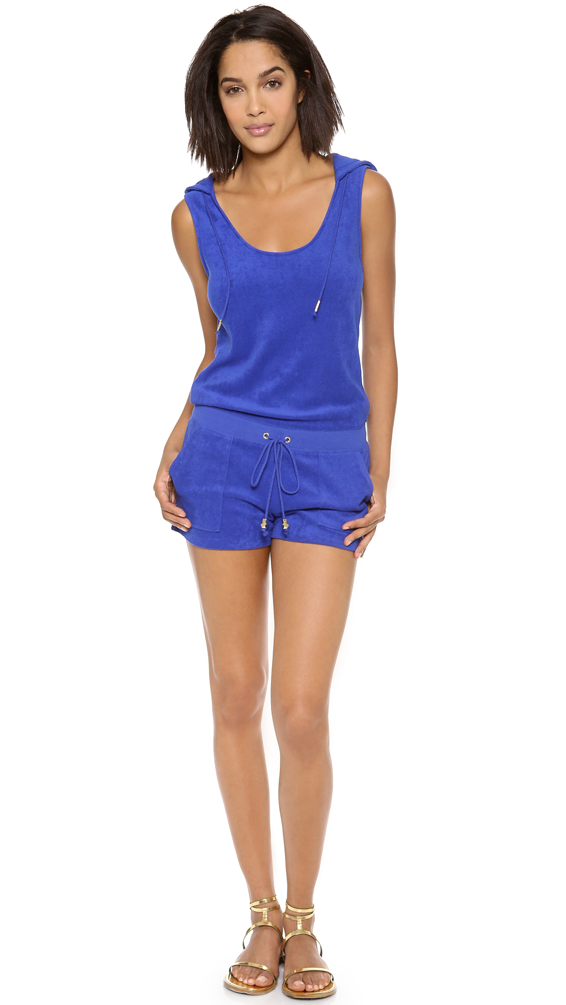 Juicy couture micro terry hoodie romper in blue blue for Couture garments