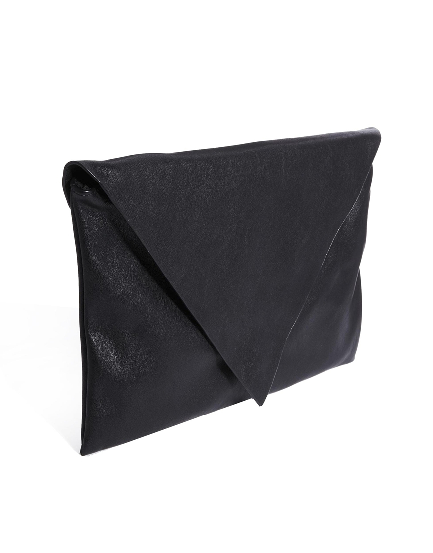 755f5458608f Lyst - Pull Bear Envelope Clutch Bag in Black in Black