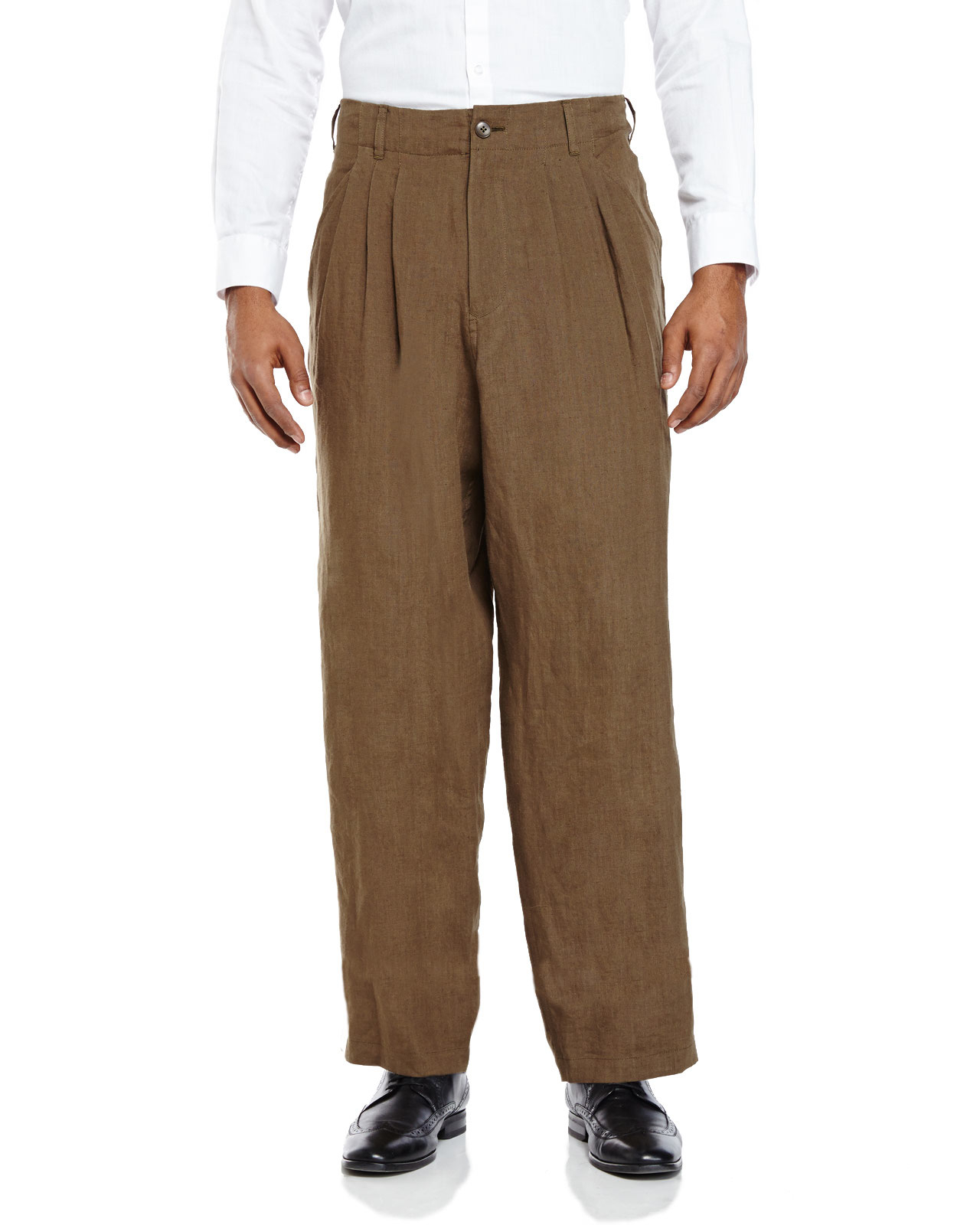 Yohji yamamoto Dark Olive Pleated Relaxed Fit Linen Pants in Green ...
