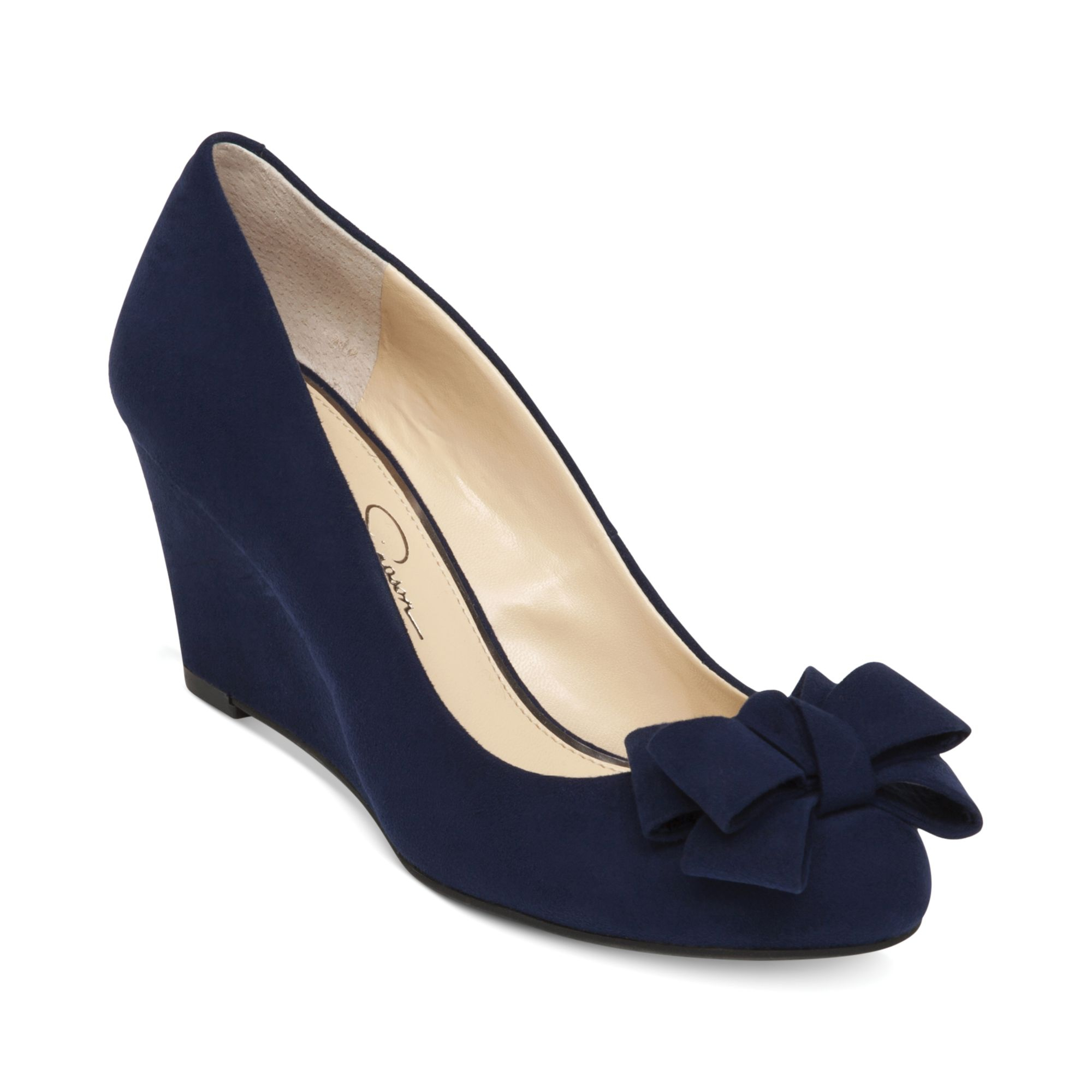 sheryl bow wedges in blue navy baby lyst