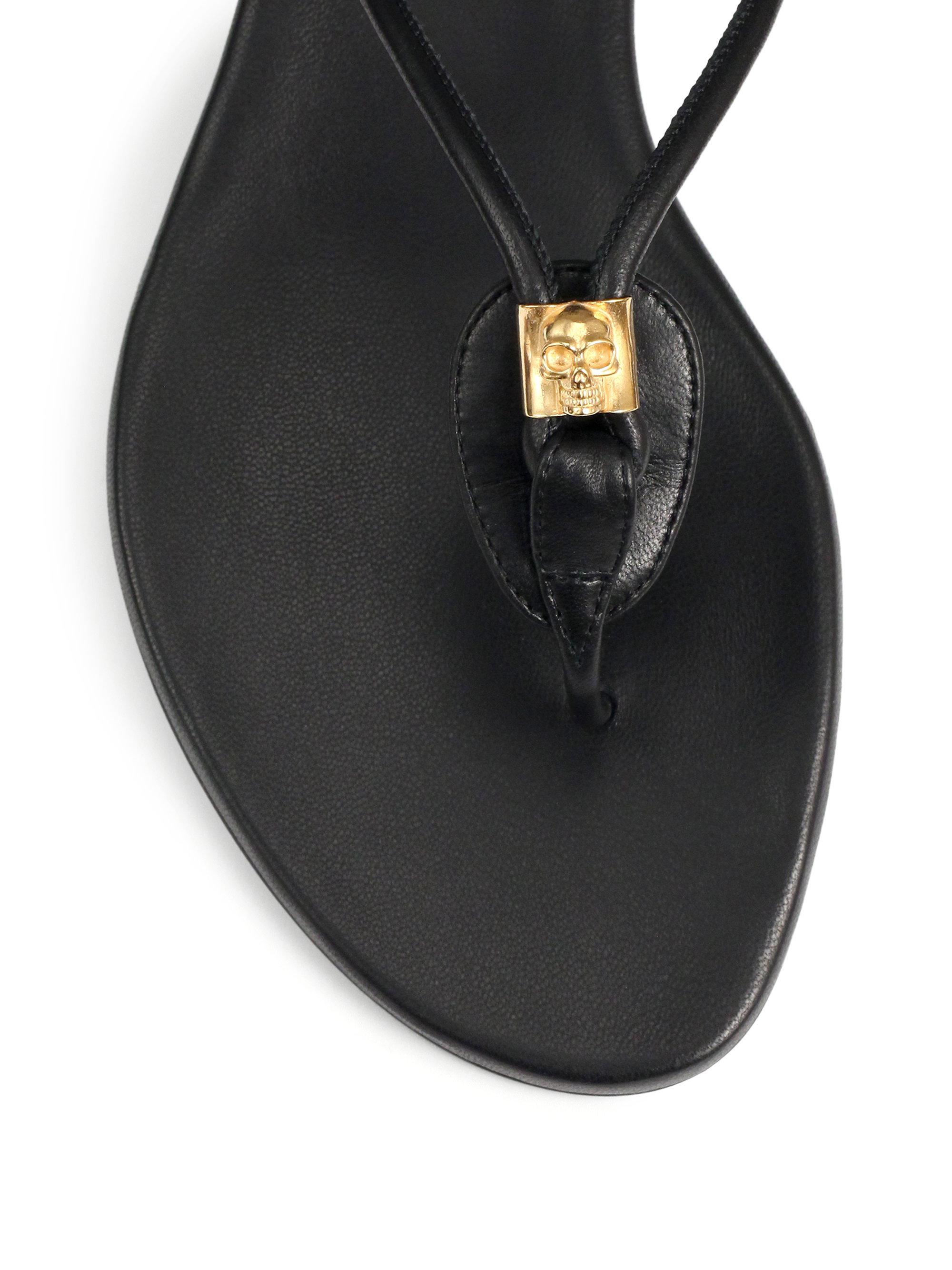 Alexander Mcqueen Skull Leather Flip Flops In Black - Lyst-3496