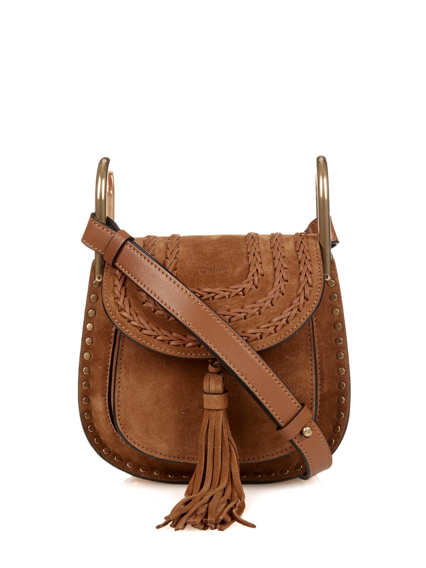 75457b418c66f Chloé Hudson Mini Suede Cross-Body Bag in Brown - Lyst
