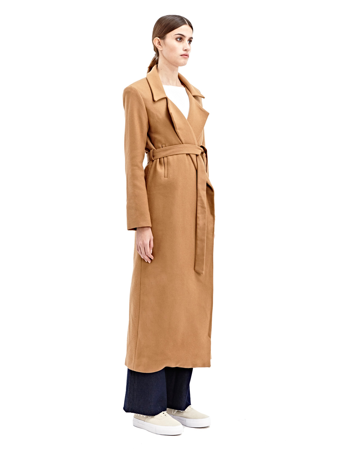 House Duster: Charlie May Womens Wool Duster Coat In Natural (Brown)