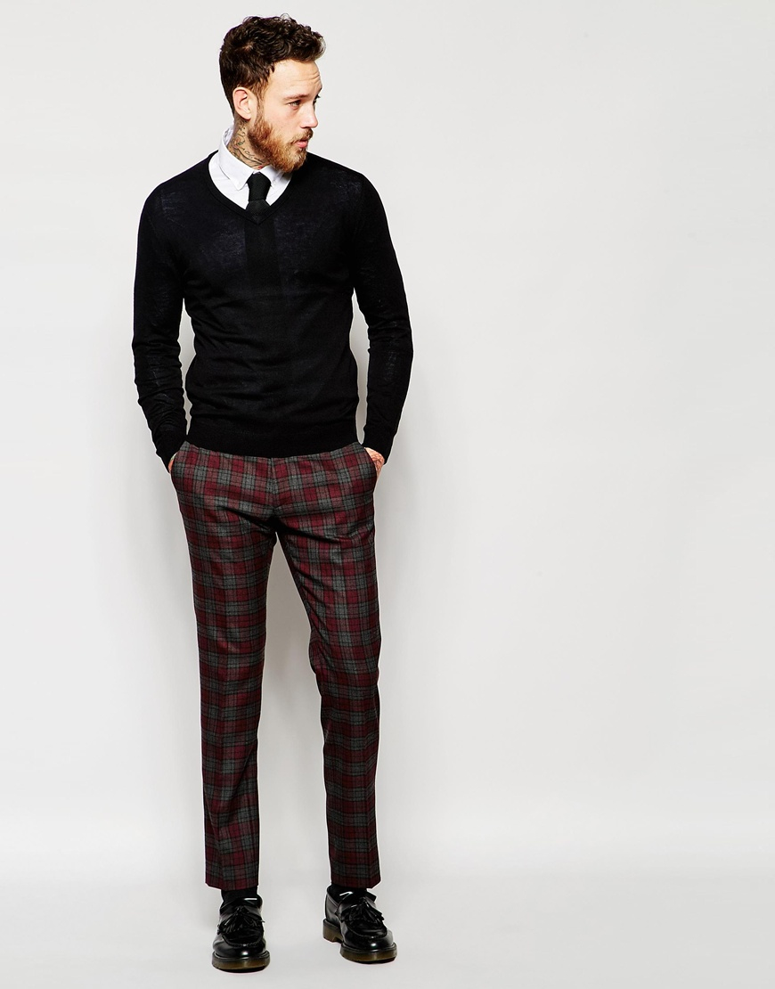 Asos Skinny Suit Trousers In Tartan Check For Men Lyst