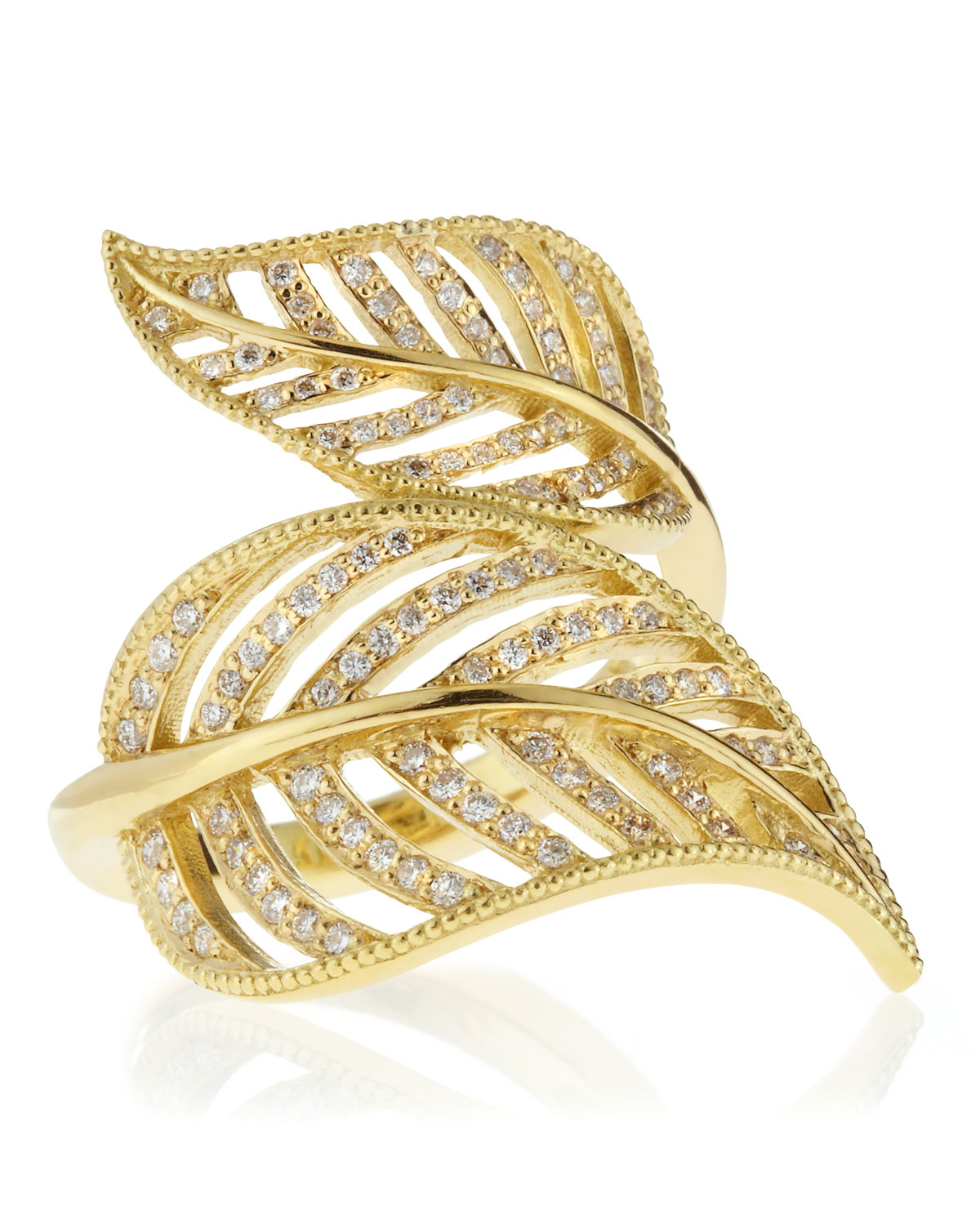Penny Preville 18k Diamond Leaf Band Ring, Size 6