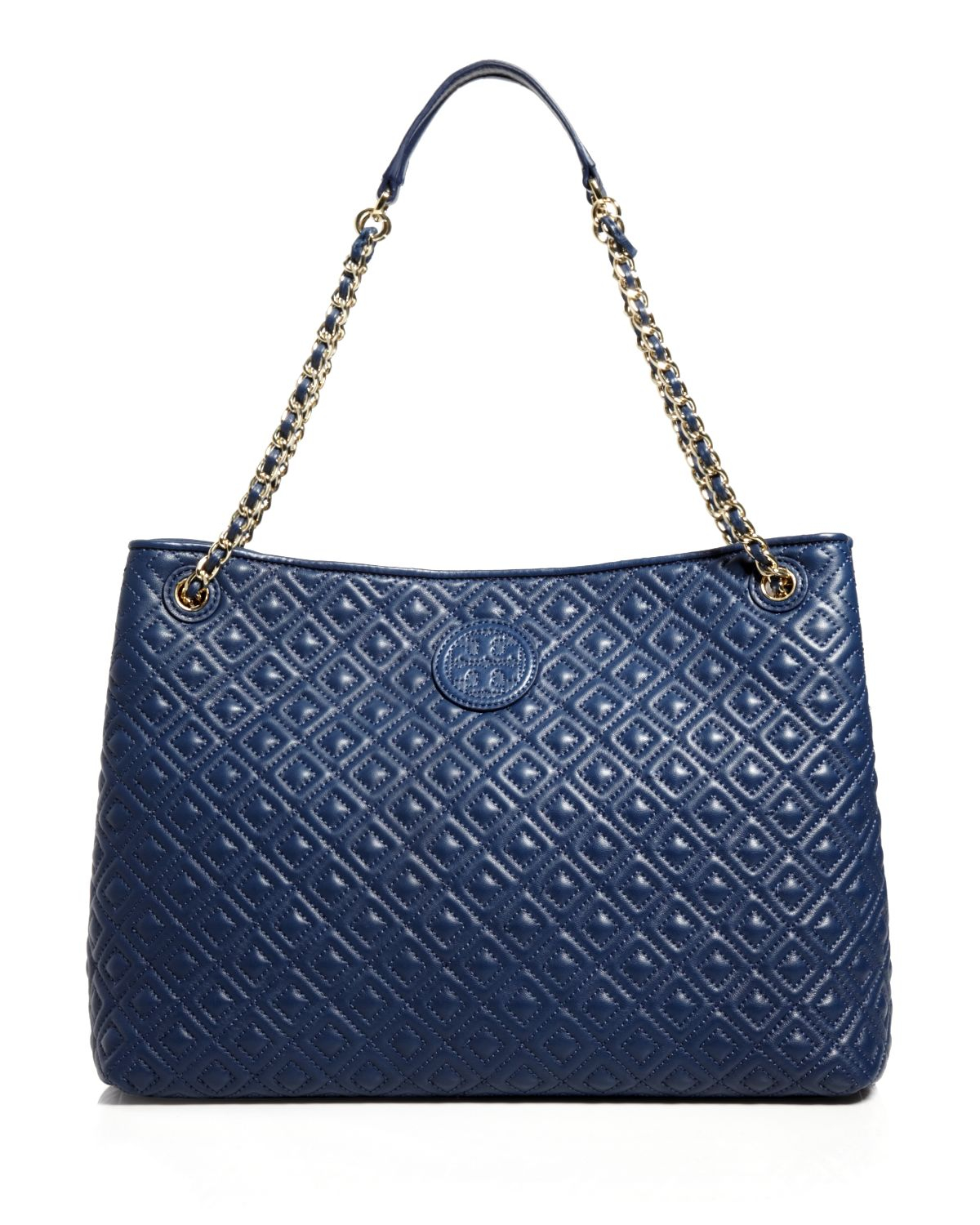 Lyst Tory Burch Tote Marion Chain Slouchy In Blue