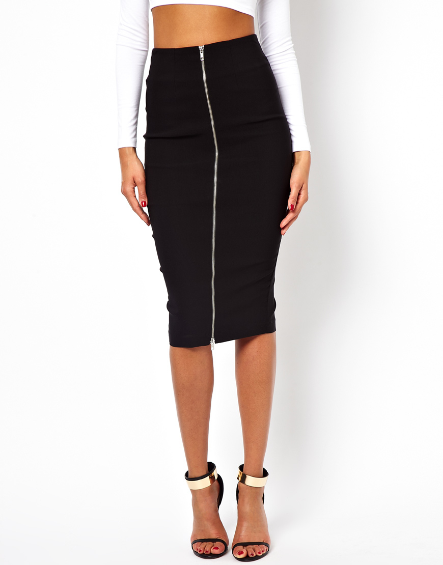 Asos Pencil Skirt with Zip Front in Black | Lyst