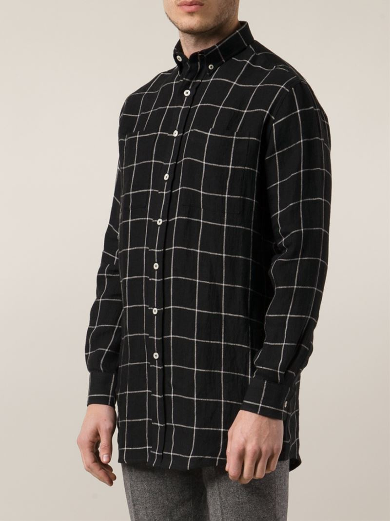 Lyst ami windowpane check shirt in black for men for Black and white check mens shirt