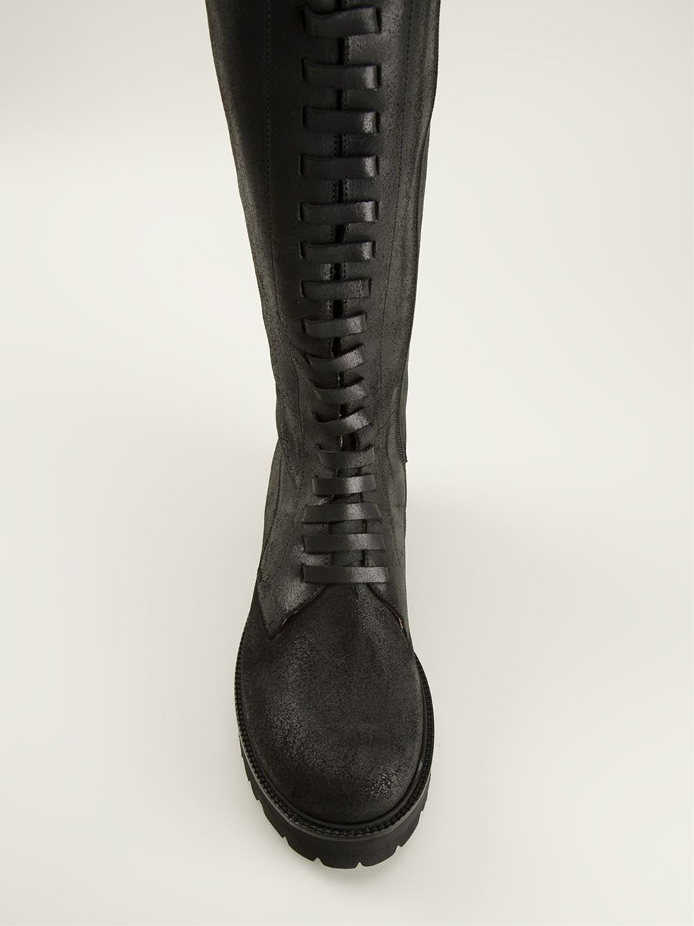 MM6 by Maison Martin Margiela Lace-Up Boots in Black