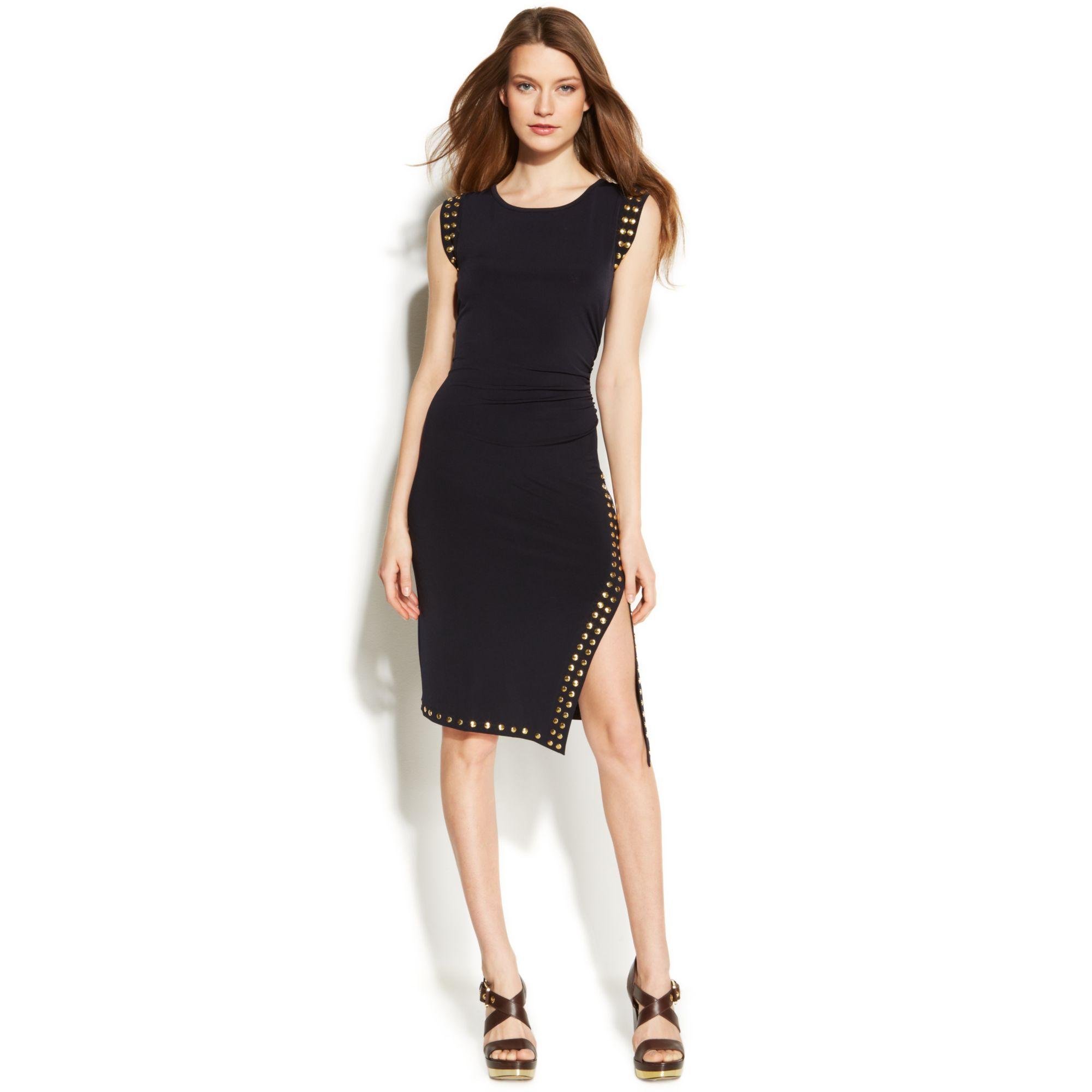 Creative Michael Kors Michael Rolled Sleeve Zip-Front Dress In Black | Lyst