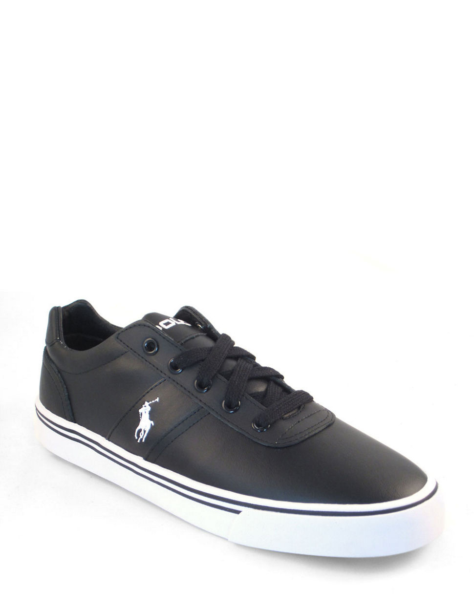 polo ralph lauren hanford black leather sneakers in black for men. Black Bedroom Furniture Sets. Home Design Ideas