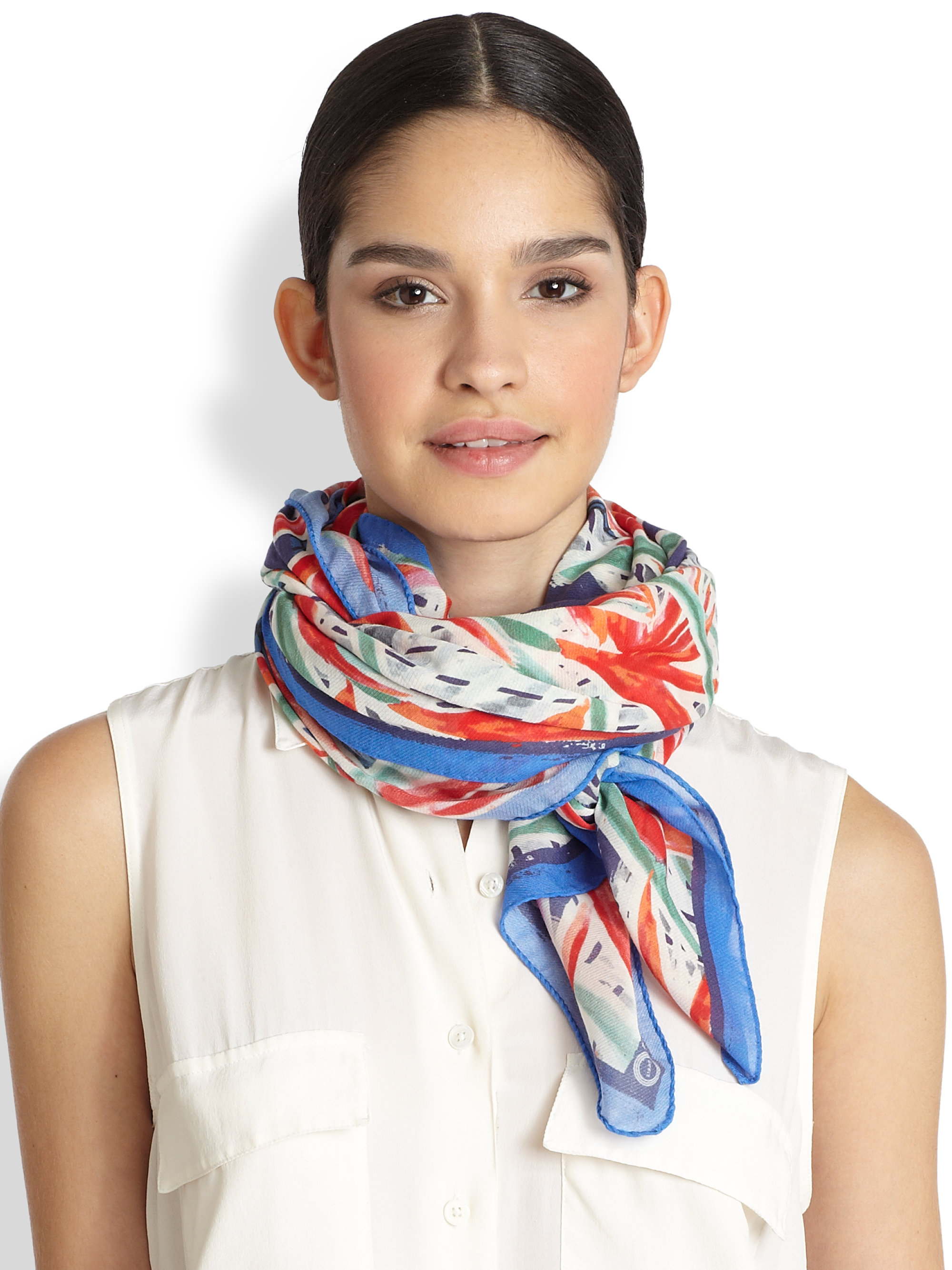 kenzo swimming pool scarf in blue lyst