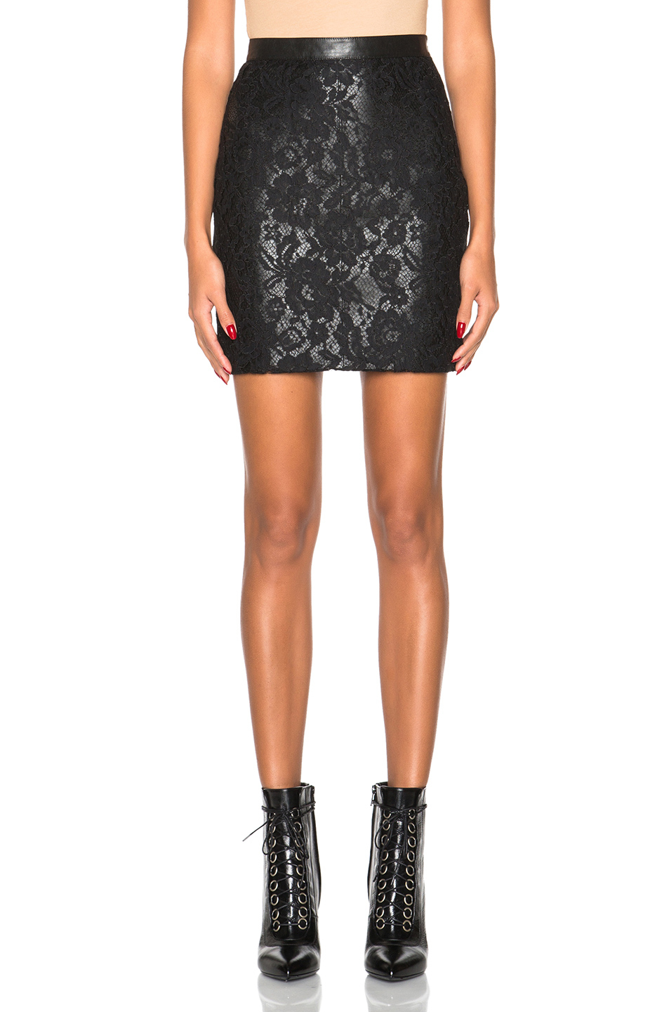 Saint laurent Leather And Lace Skirt in Black | Lyst