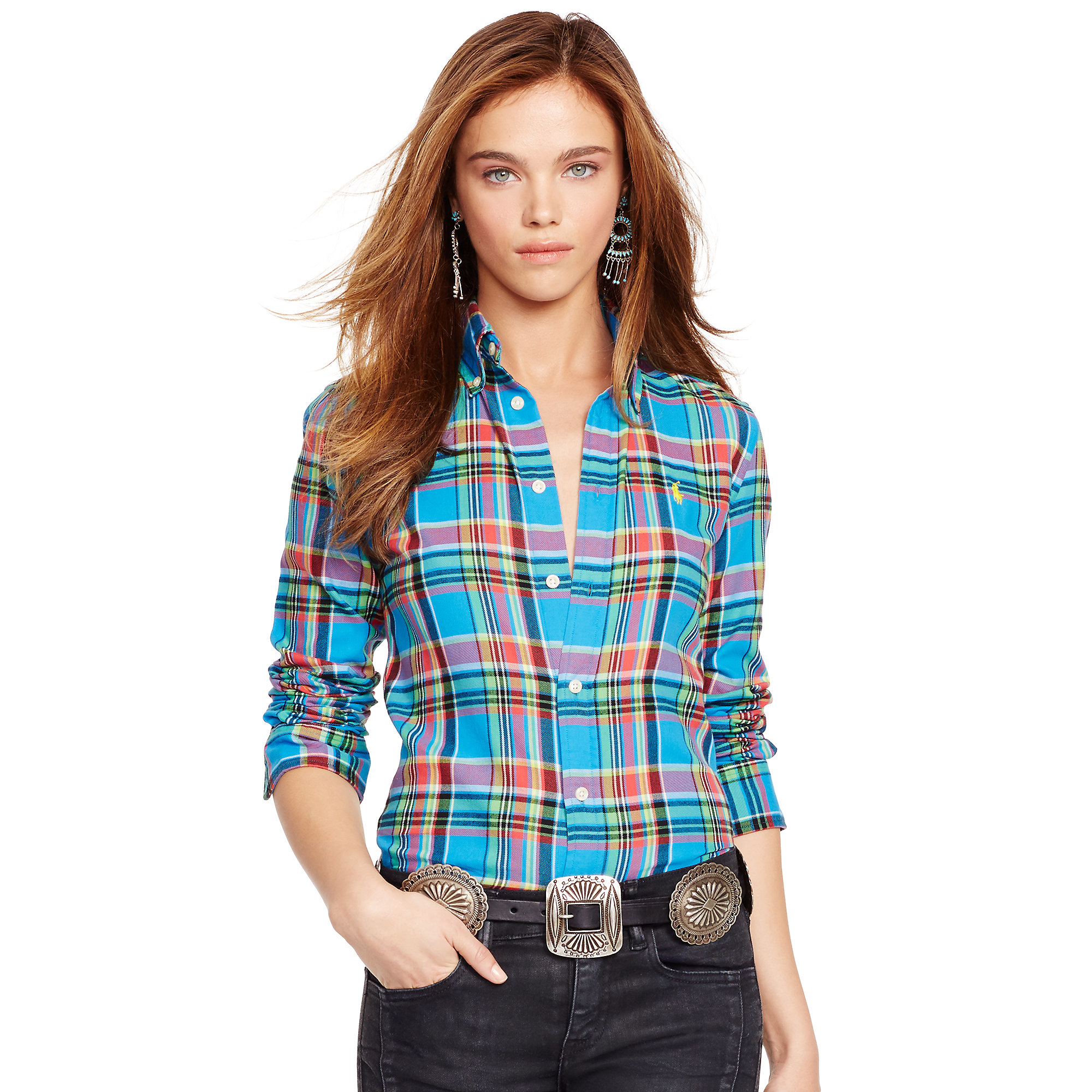 polo ralph lauren plaid cotton twill shirt in blue lyst. Black Bedroom Furniture Sets. Home Design Ideas