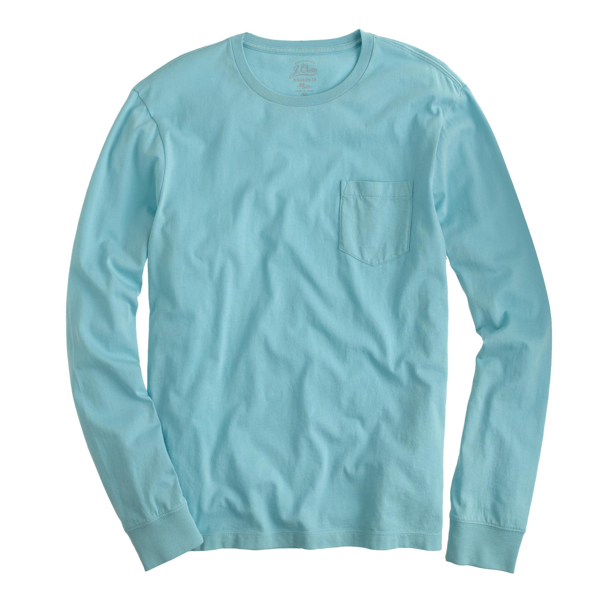 bfff66da27bf Lyst - J.Crew Broken-in Long-sleeve Pocket T-shirt in Blue for Men