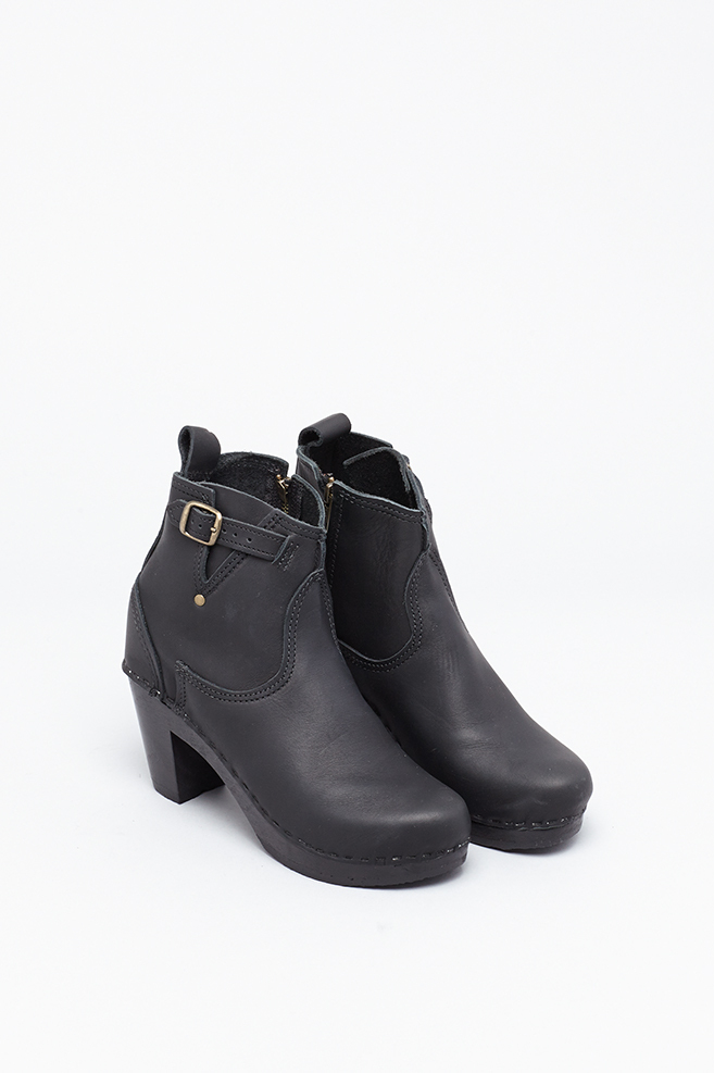 no 6 black black 5 quot buckle boot high heel in black lyst