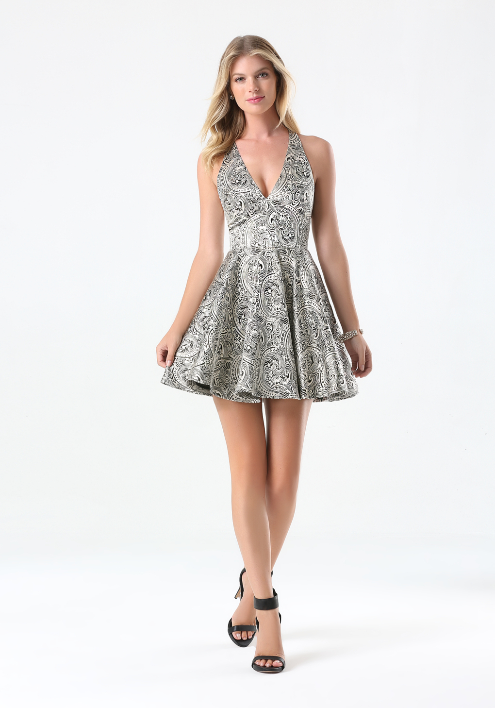 Bebe Jacquard Fit Amp Flare Dress In Champagne Black Black