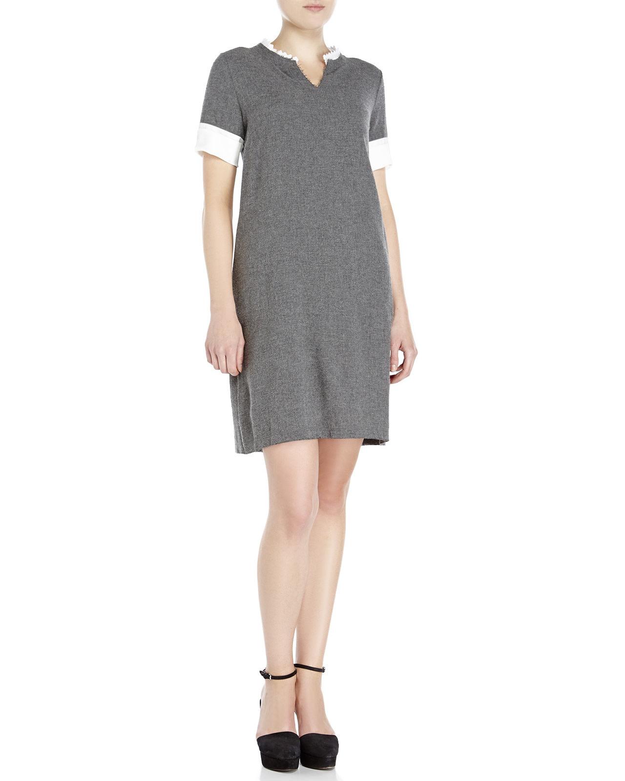 Century 21 ottod 39 ame split v neck dress in gray grey lyst for Century 21 dress shirts